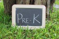 Pre k chalkboard in grass